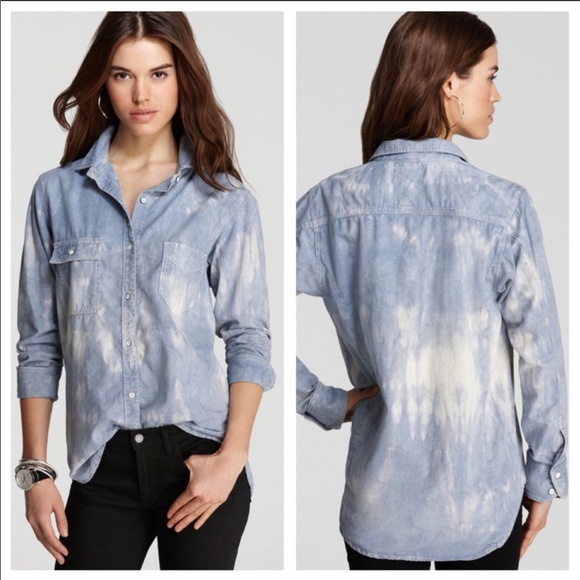 Rag & Bone tie dye bleach button down shirt